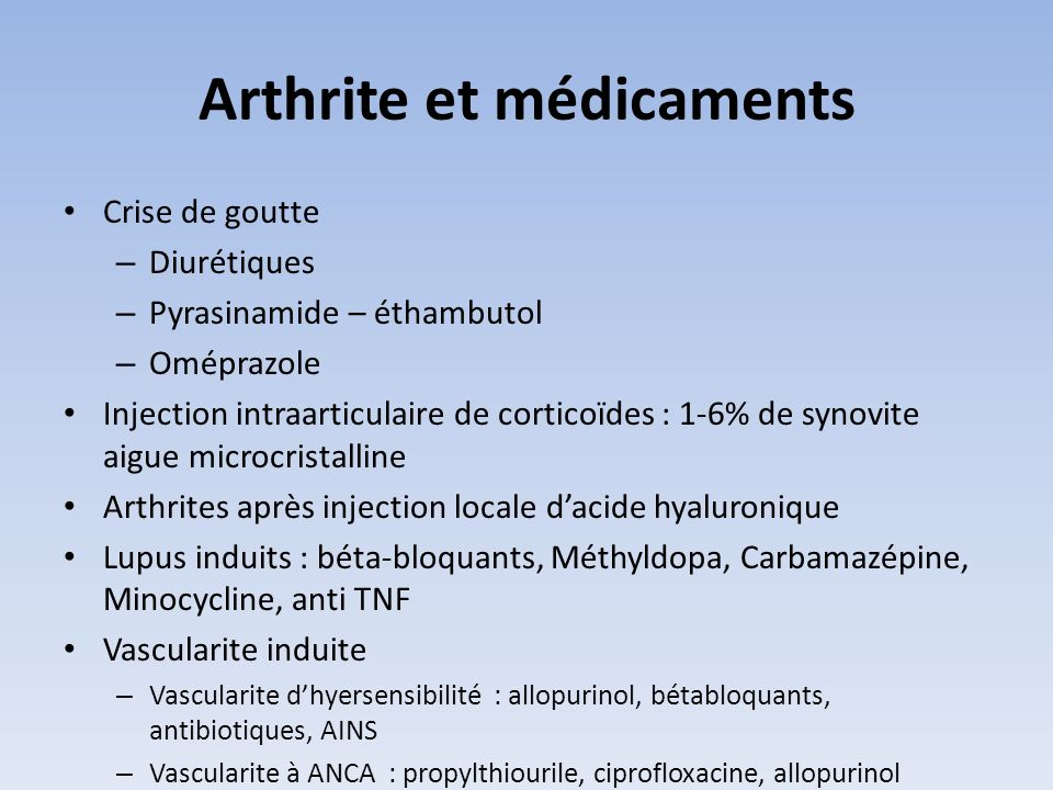 Arthrite et médicaments