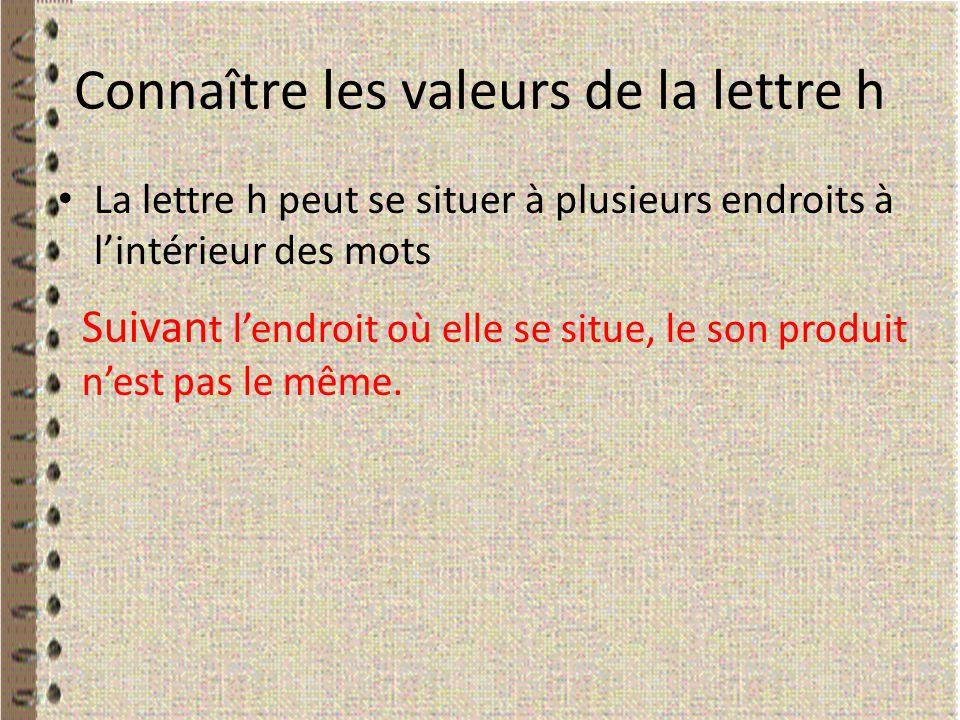 Connaître les valeurs de la lettre h