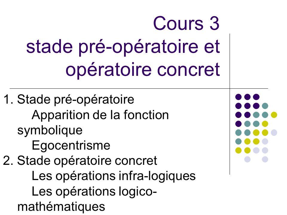 Cours 3 stade pré-opératoire et opératoire concret