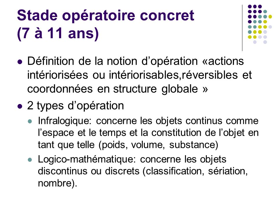 Stade opératoire concret (7 à 11 ans)