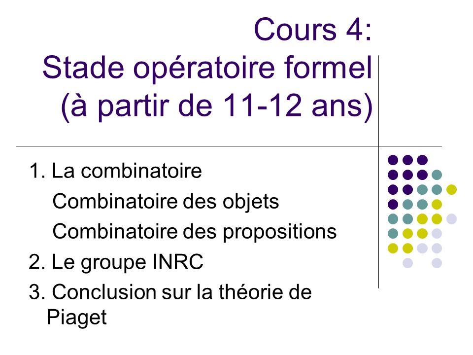 Cours 4: Stade opératoire formel (à partir de 11-12 ans)