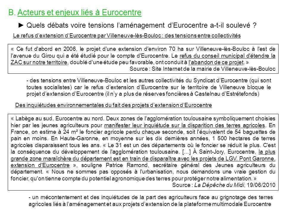 B. Acteurs et enjeux liés à Eurocentre