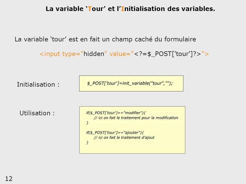 La variable 'Tour' et l'Initialisation des variables.