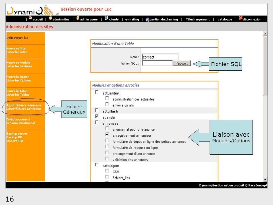 Fichier SQL Fichiers Généraux Liaison avec Modules/Options 16