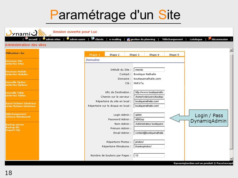 Paramétrage d un Site Login / Pass DynamiqAdmin 18
