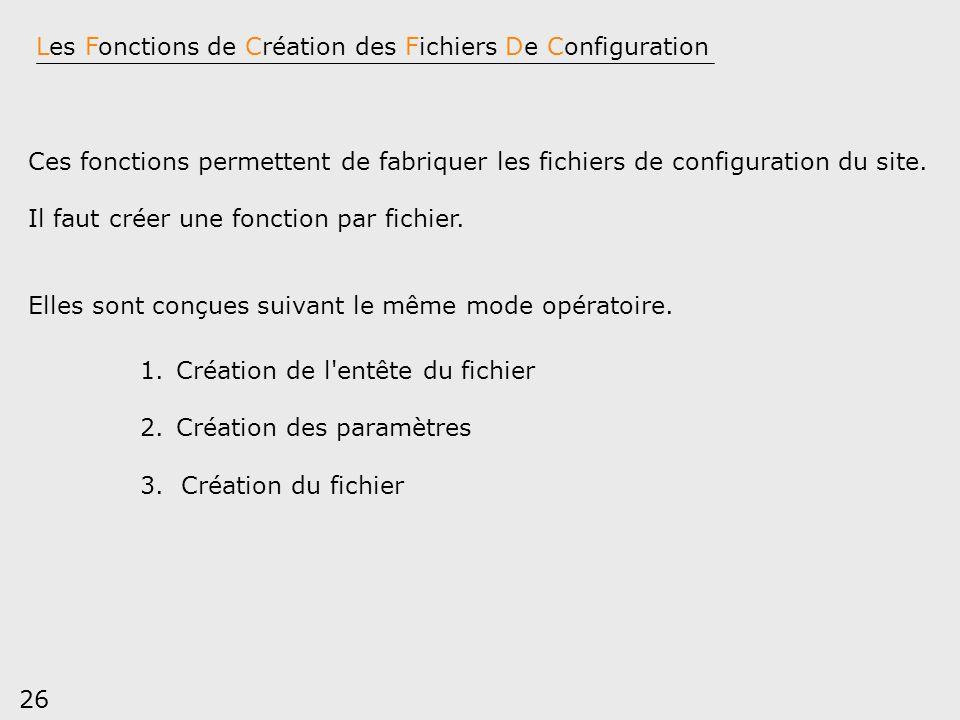 Les Fonctions de Création des Fichiers De Configuration
