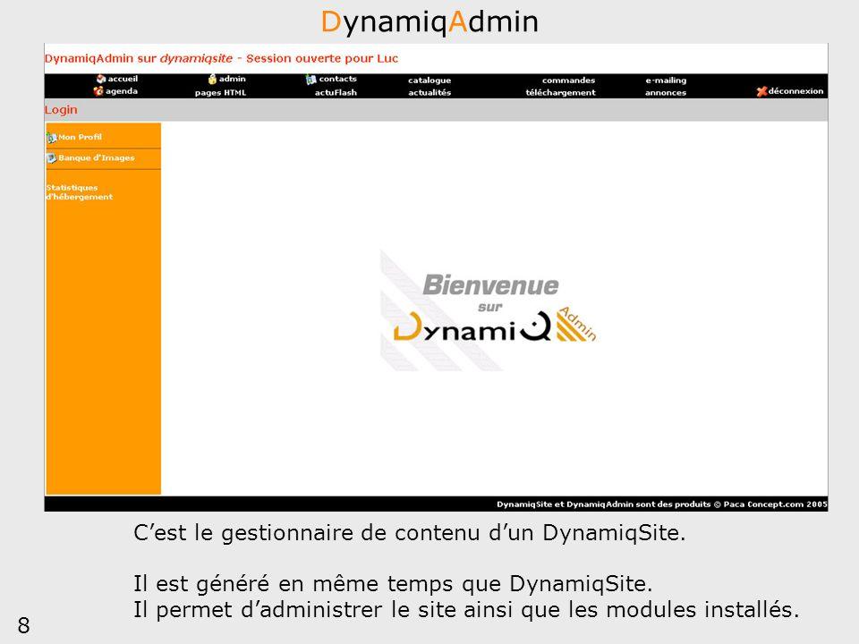 DynamiqAdmin C'est le gestionnaire de contenu d'un DynamiqSite.