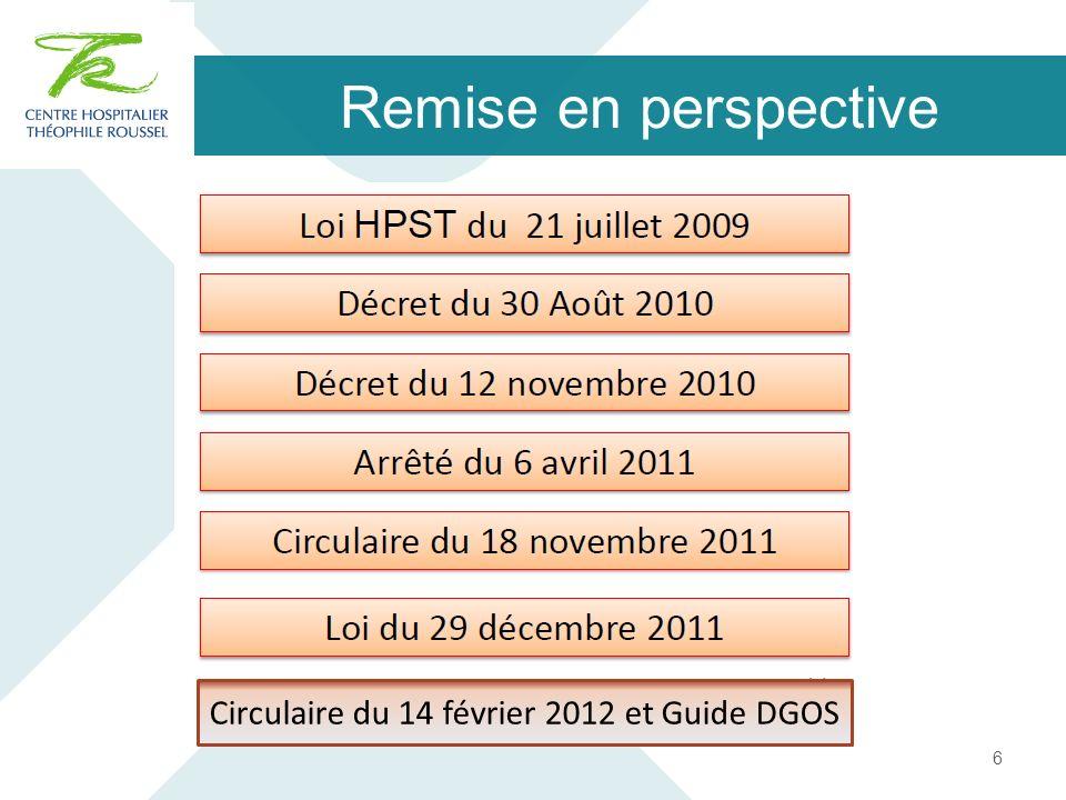Circulaire du 14 février 2012 et Guide DGOS