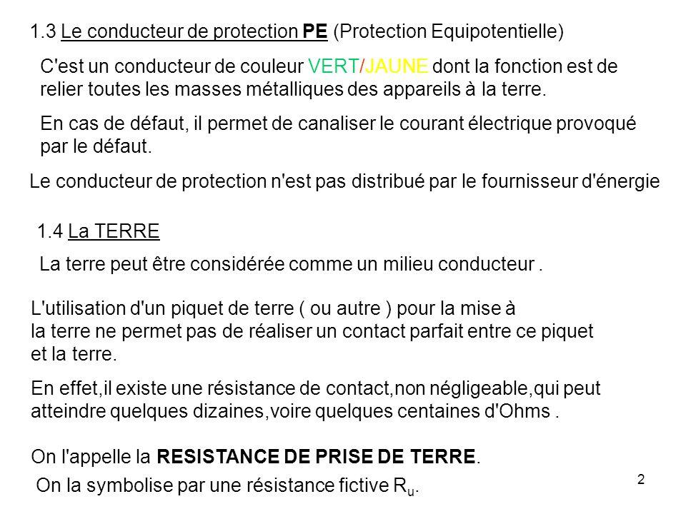 1.3 Le conducteur de protection PE (Protection Equipotentielle)