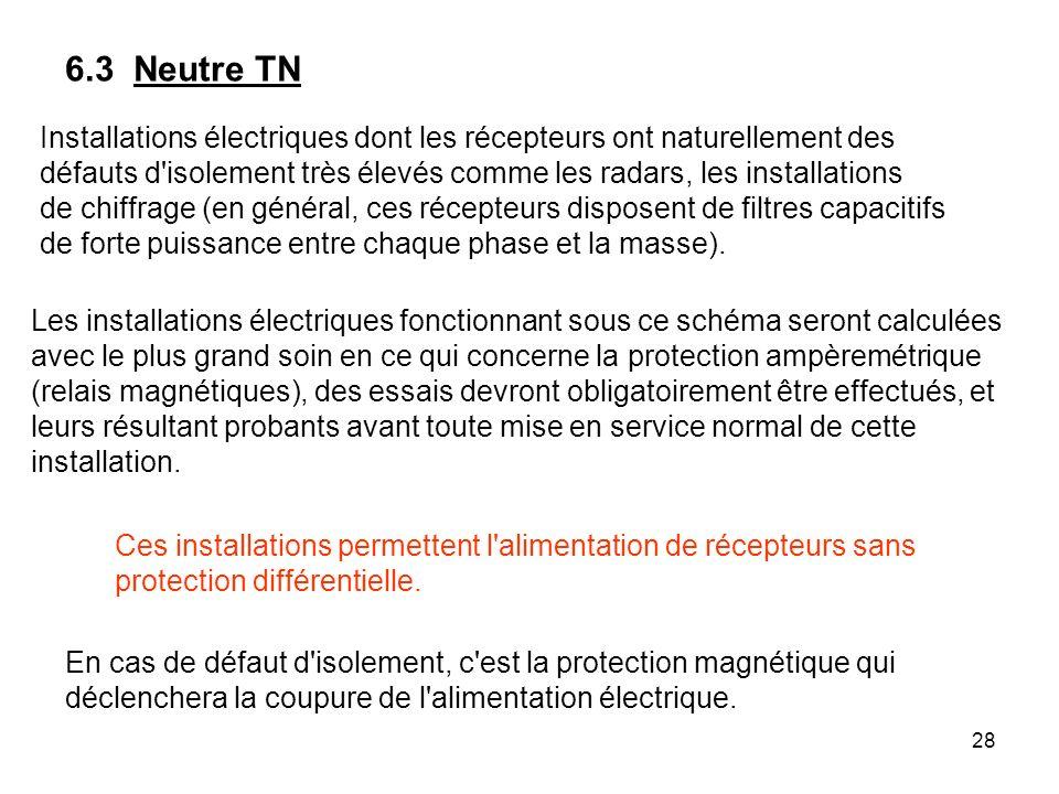 6.3 Neutre TNInstallations électriques dont les récepteurs ont naturellement des.