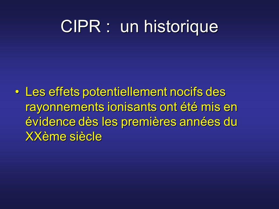 CIPR : un historique Les effets potentiellement nocifs des rayonnements ionisants ont été mis en évidence dès les premières années du XXème siècle.