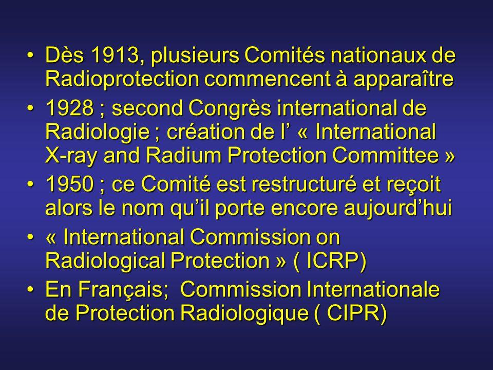 Dès 1913, plusieurs Comités nationaux de Radioprotection commencent à apparaître