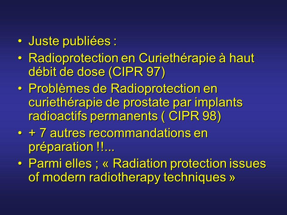 Juste publiées : Radioprotection en Curiethérapie à haut débit de dose (CIPR 97)