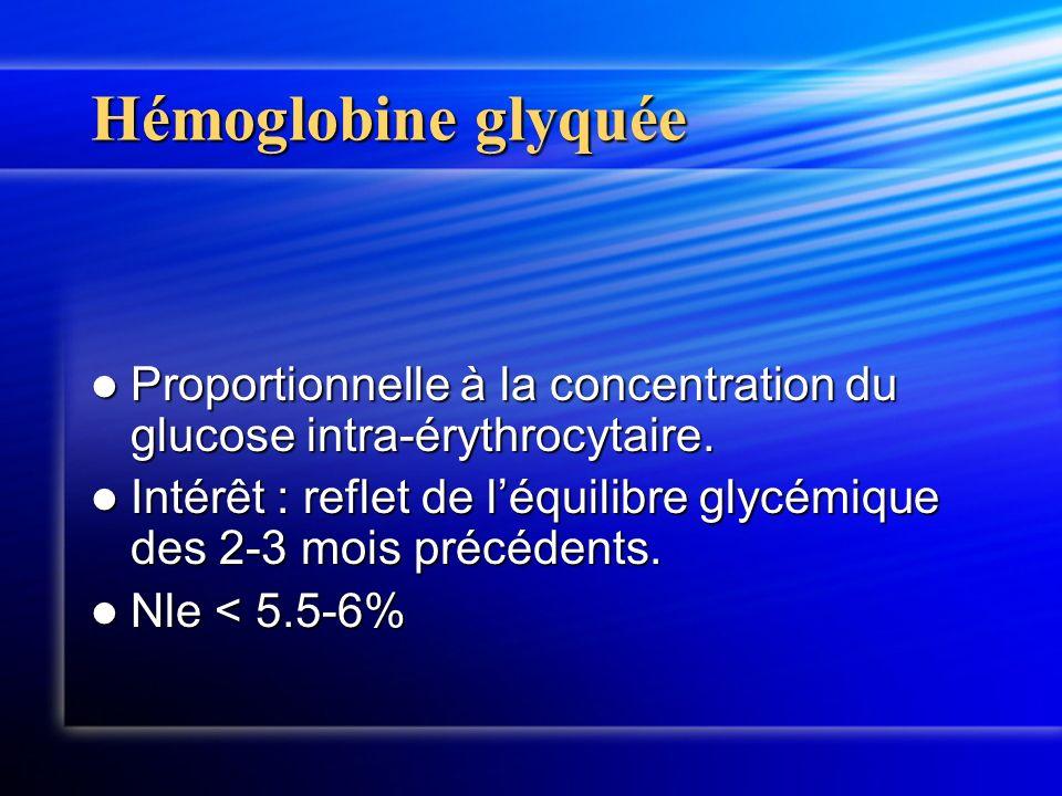 Hémoglobine glyquée Proportionnelle à la concentration du glucose intra-érythrocytaire.