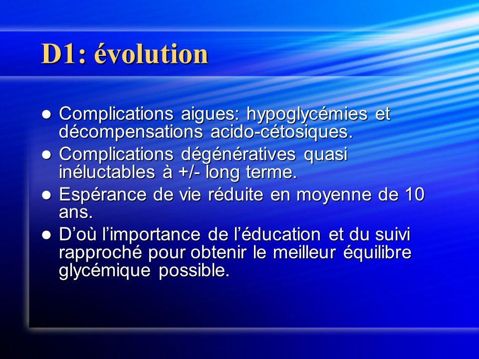 D1: évolutionComplications aigues: hypoglycémies et décompensations acido-cétosiques.