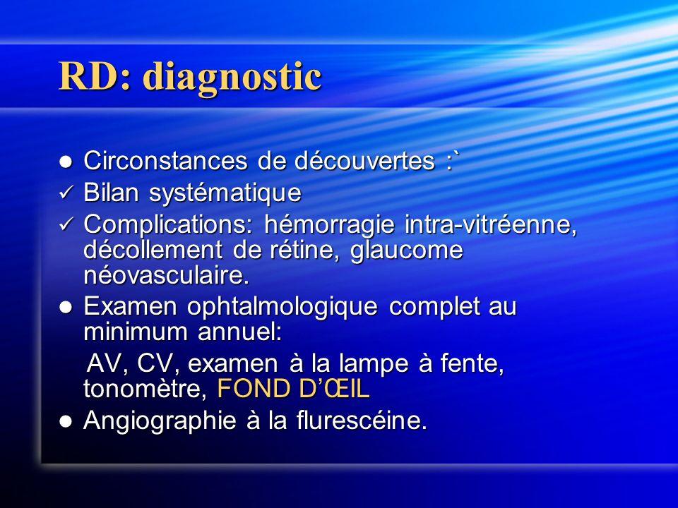 RD: diagnostic Circonstances de découvertes :` Bilan systématique