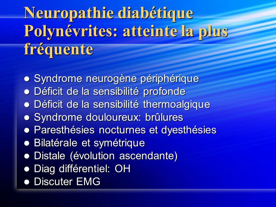 Neuropathie diabétique Polynévrites: atteinte la plus fréquente