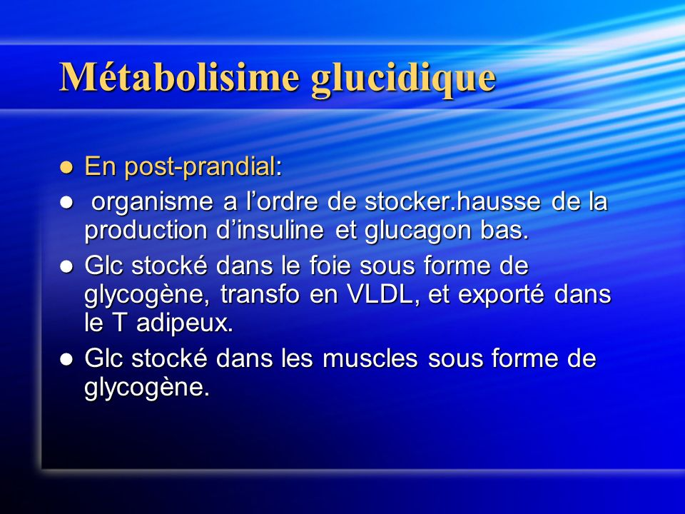 Métabolisime glucidique