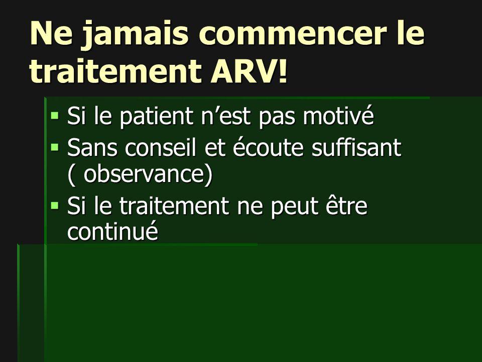 Ne jamais commencer le traitement ARV!