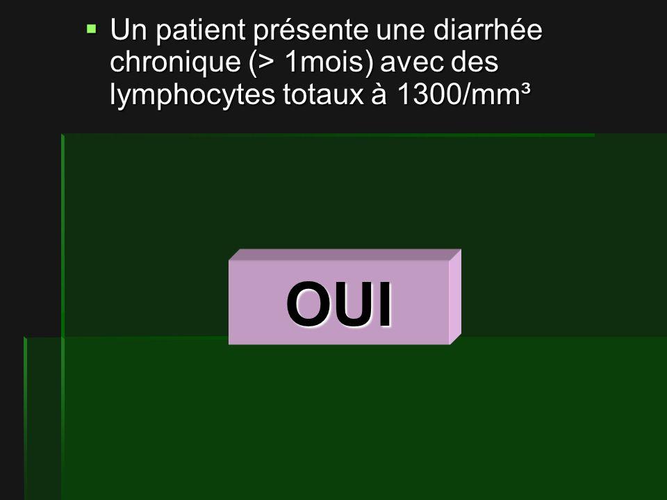 Un patient présente une diarrhée chronique (> 1mois) avec des lymphocytes totaux à 1300/mm³