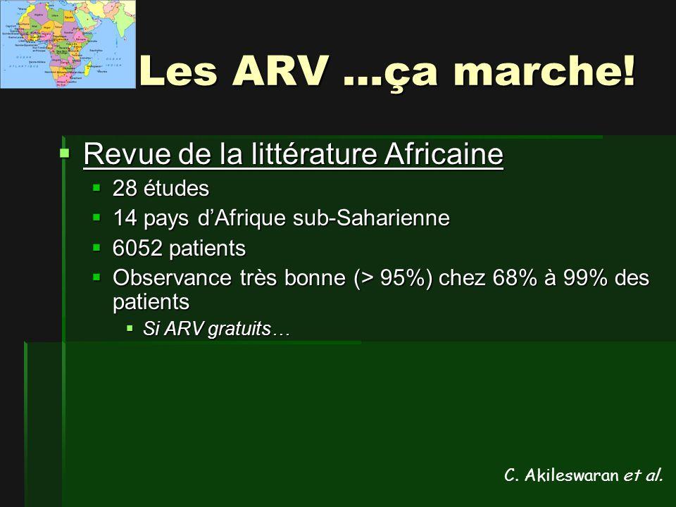 Les ARV …ça marche! Revue de la littérature Africaine 28 études