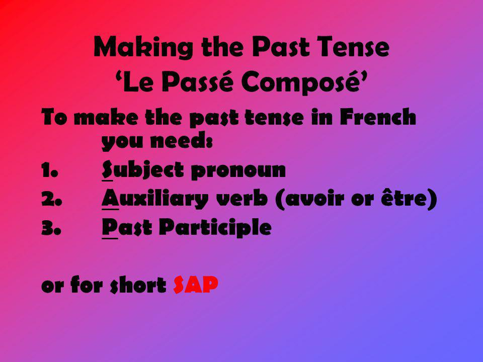 Making the Past Tense 'Le Passé Composé'