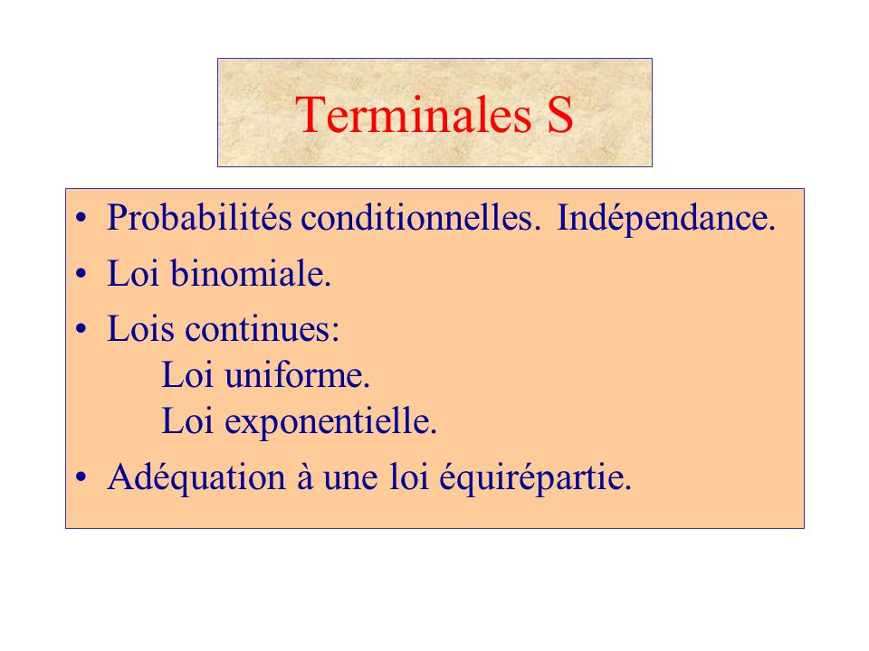 Probabilit s et statistiques au lyc e ppt video online for Loi uniforme