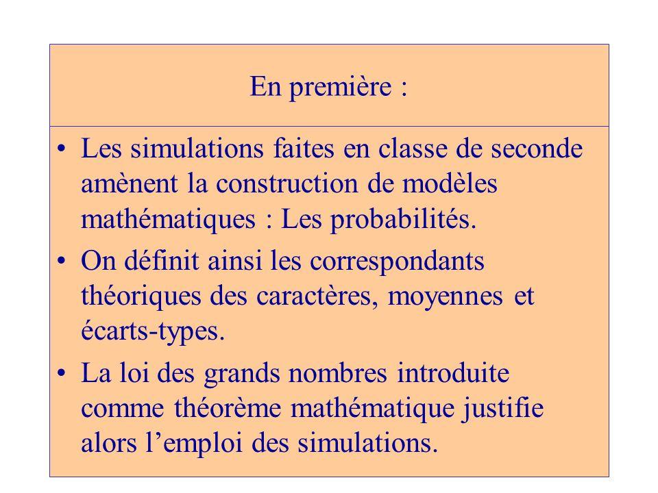 En première :Les simulations faites en classe de seconde amènent la construction de modèles mathématiques : Les probabilités.