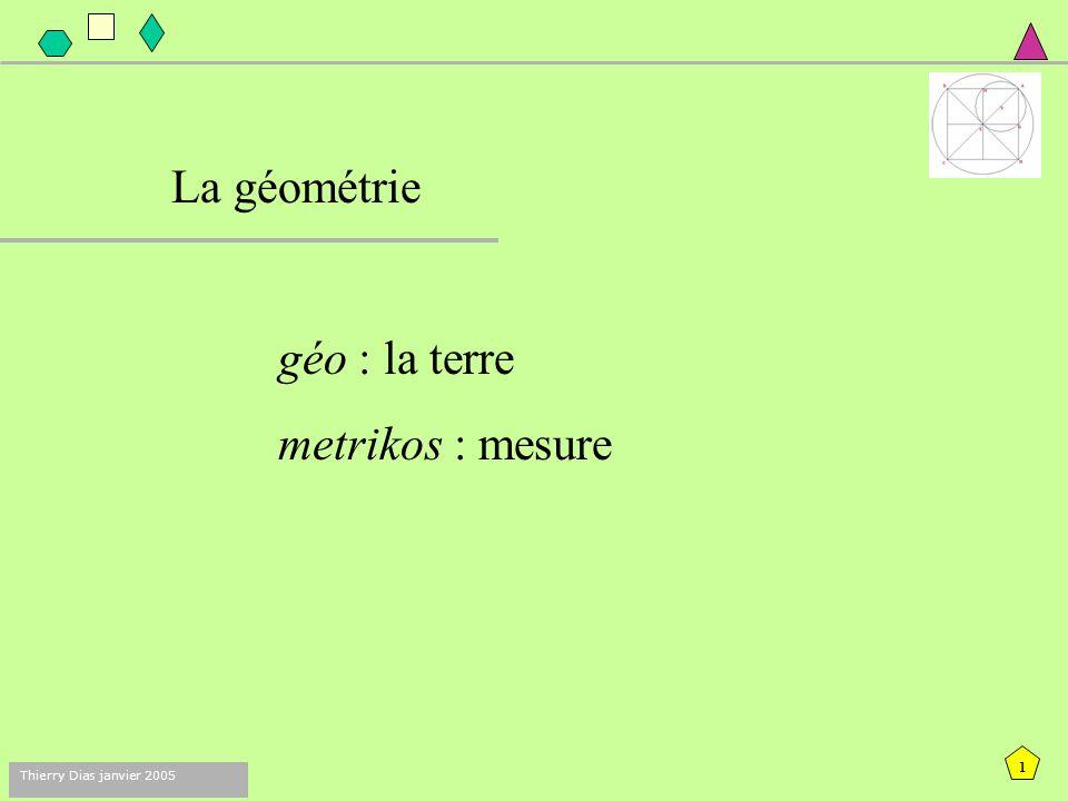 La géométrie géo : la terre metrikos : mesure