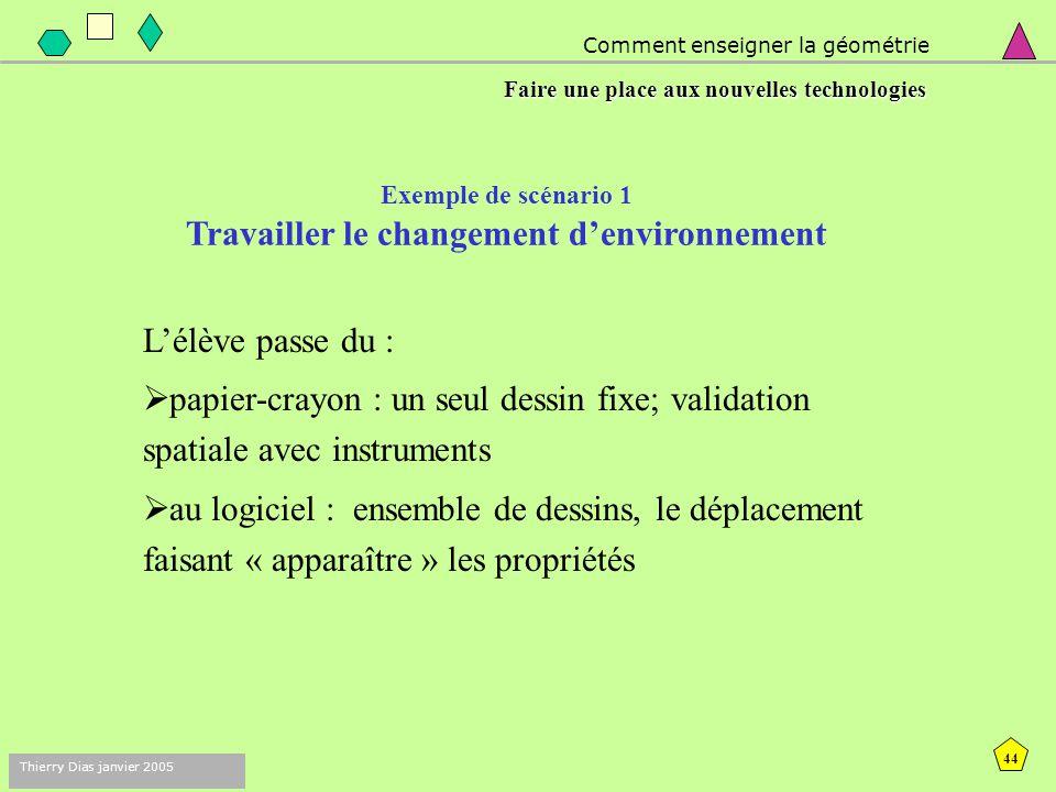 Exemple de scénario 1 Travailler le changement d'environnement