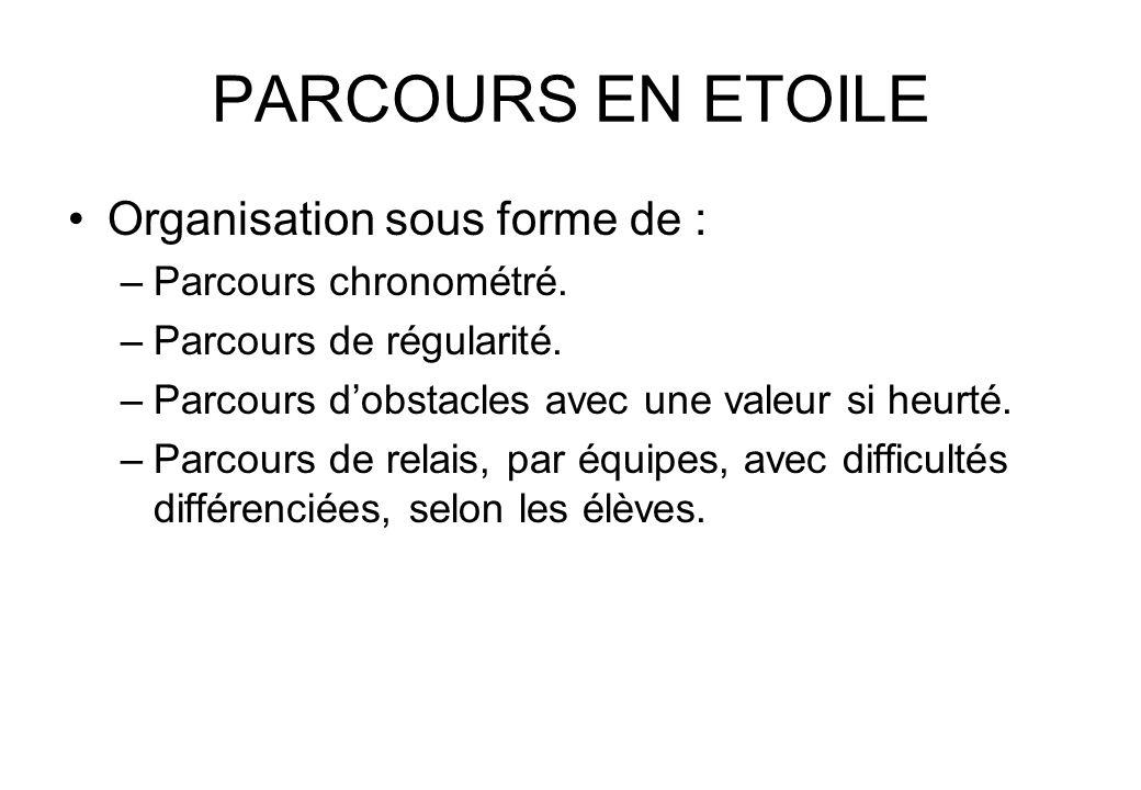 PARCOURS EN ETOILE Organisation sous forme de : Parcours chronométré.