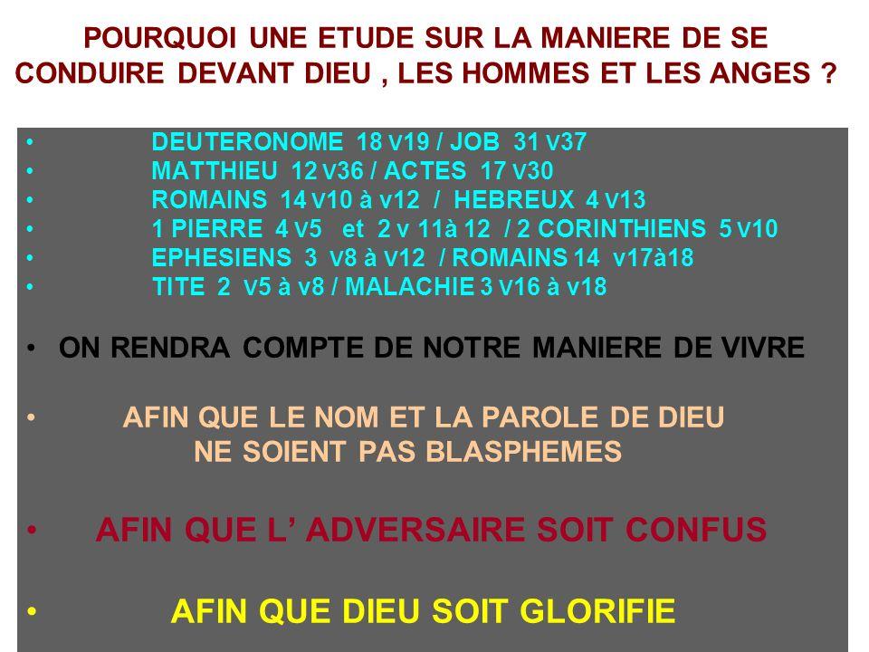 AFIN QUE L' ADVERSAIRE SOIT CONFUS AFIN QUE DIEU SOIT GLORIFIE