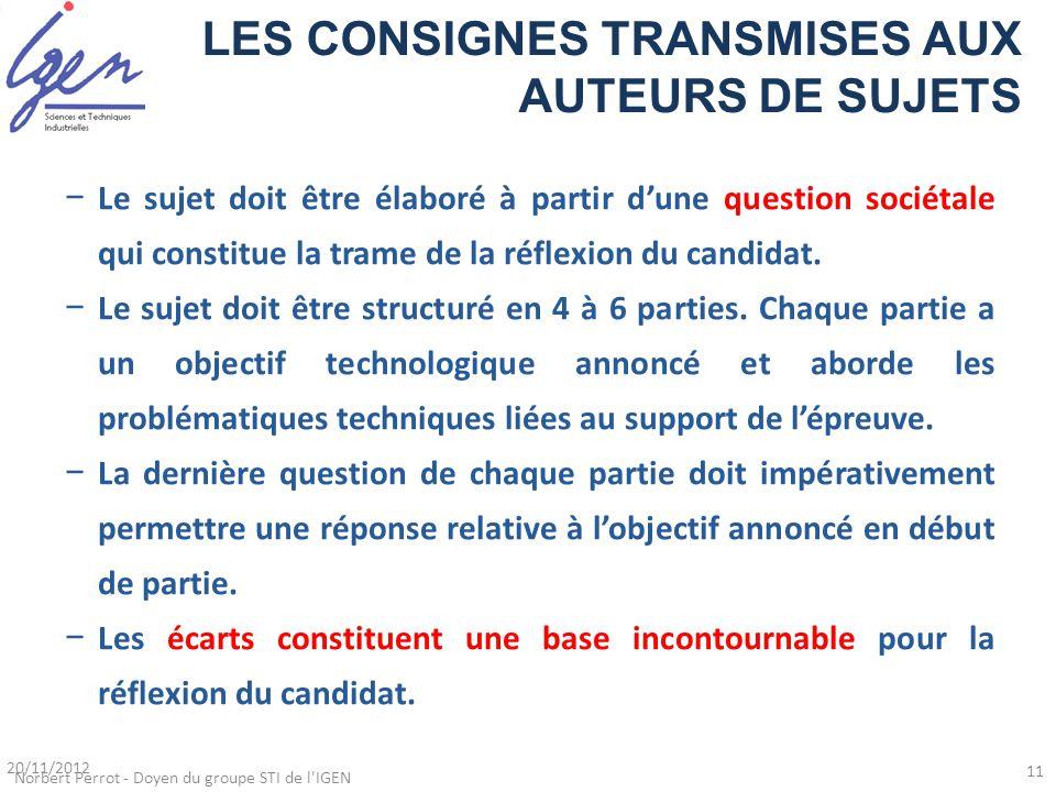 LES CONSIGNES TRANSMISES AUX AUTEURS DE SUJETS