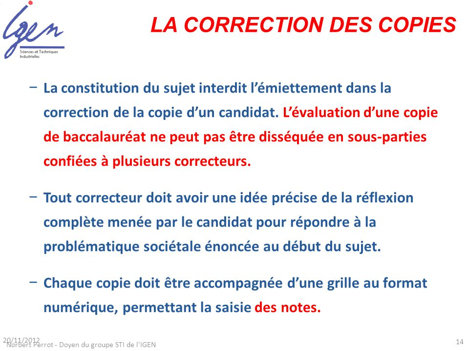 LA CORRECTION DES COPIES
