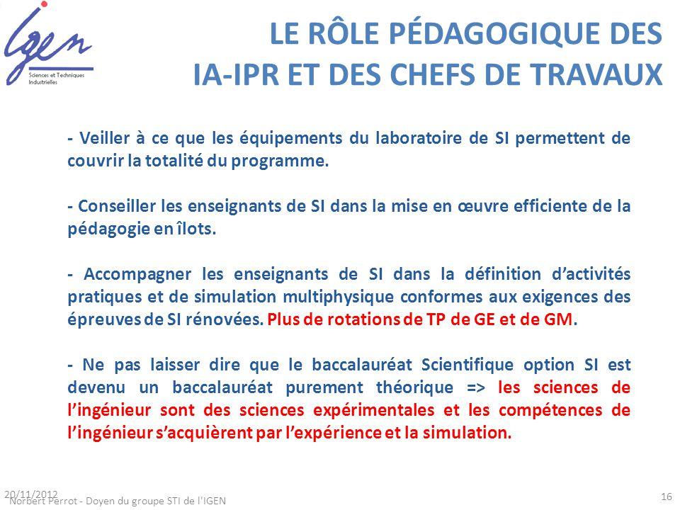 LE RÔLE PÉDAGOGIQUE DES IA-IPR ET DES CHEFS DE TRAVAUX