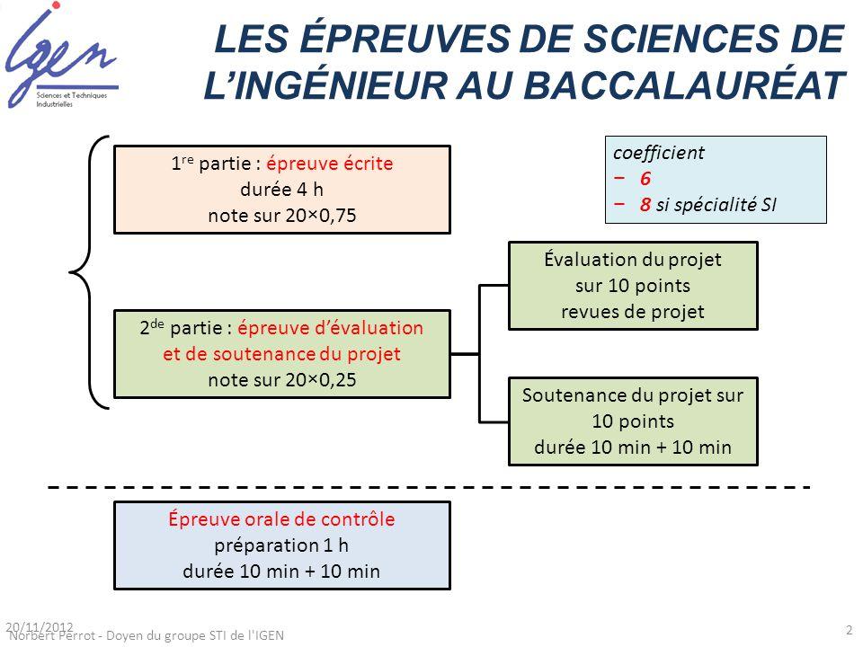 LES ÉPREUVES DE SCIENCES DE L'INGÉNIEUR AU BACCALAURÉAT