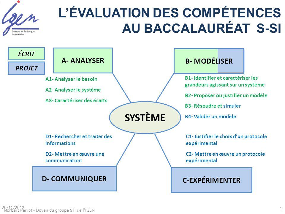 L'ÉVALUATION DES COMPÉTENCES AU BACCALAURÉAT S-SI