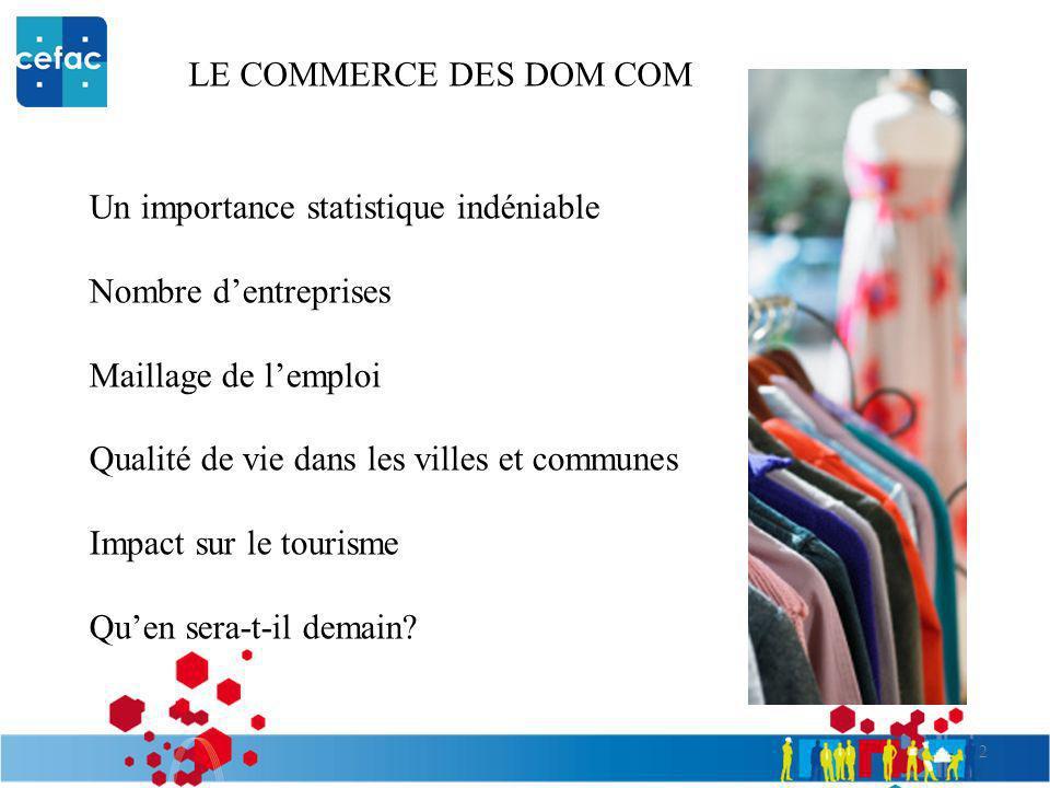 LE COMMERCE DES DOM COM Un importance statistique indéniable. Nombre d'entreprises. Maillage de l'emploi.