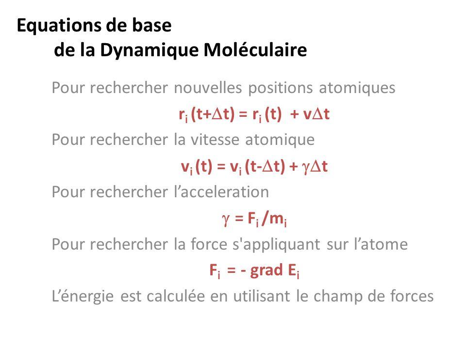 Equations de base de la Dynamique Moléculaire