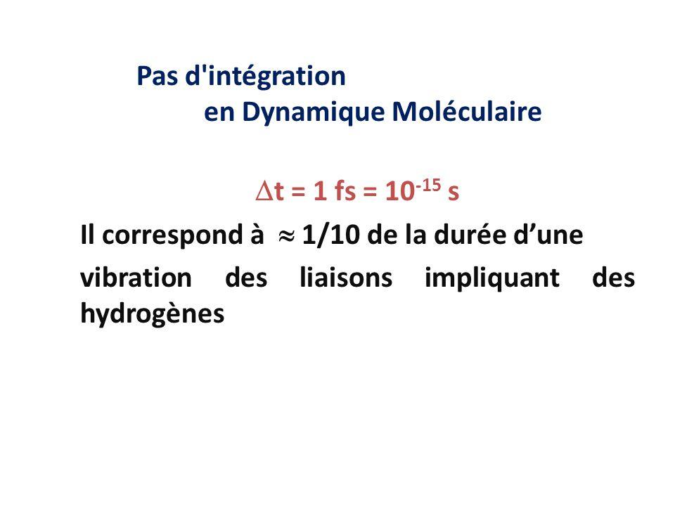 Pas d intégration en Dynamique Moléculaire
