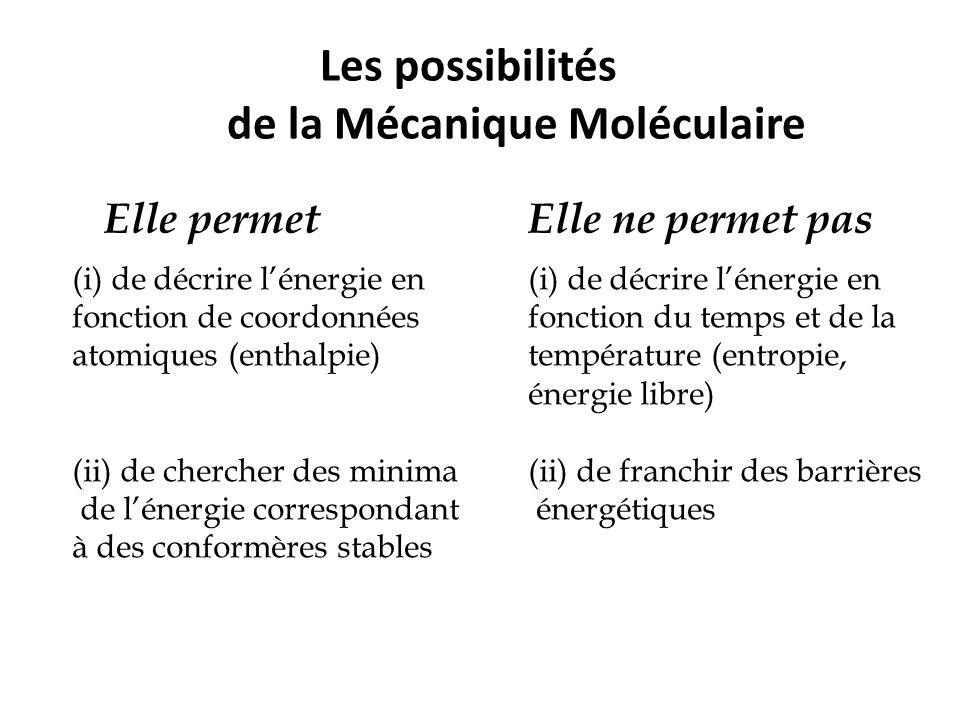 Les possibilités de la Mécanique Moléculaire