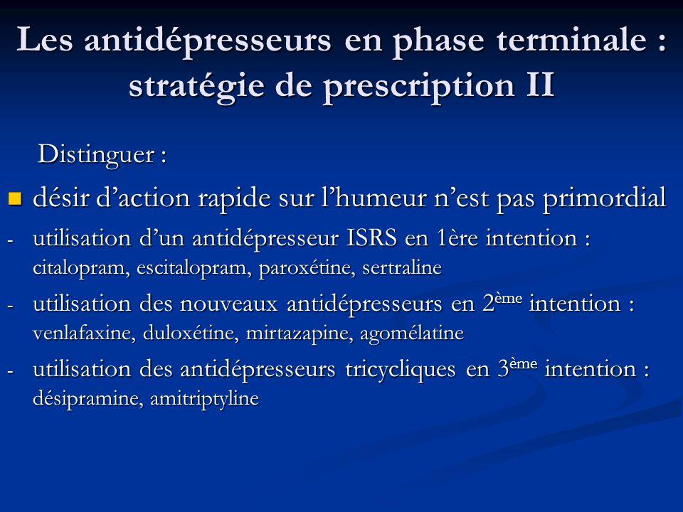 Les antidépresseurs en phase terminale : stratégie de prescription II