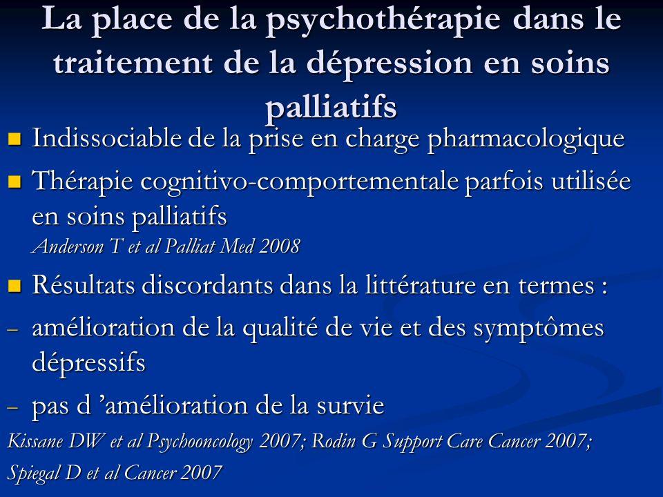 La place de la psychothérapie dans le traitement de la dépression en soins palliatifs
