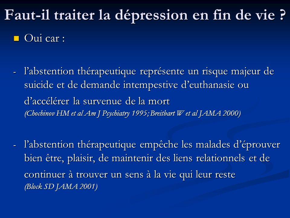 Faut-il traiter la dépression en fin de vie