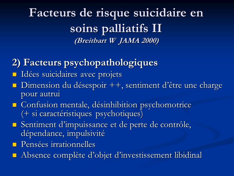 Facteurs de risque suicidaire en soins palliatifs II (Breitbart W JAMA 2000)