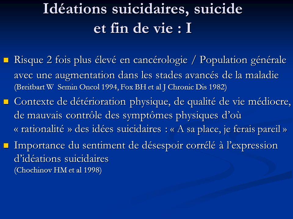 Idéations suicidaires, suicide et fin de vie : I