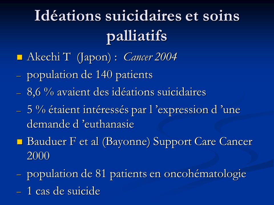 Idéations suicidaires et soins palliatifs