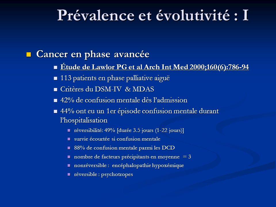Prévalence et évolutivité : I
