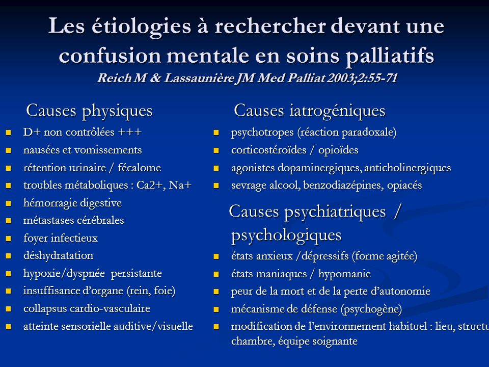 Les étiologies à rechercher devant une confusion mentale en soins palliatifs Reich M & Lassaunière JM Med Palliat 2003;2:55-71
