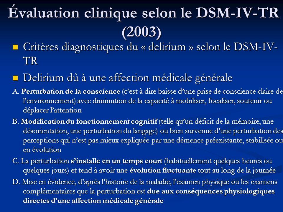 Évaluation clinique selon le DSM-IV-TR (2003)